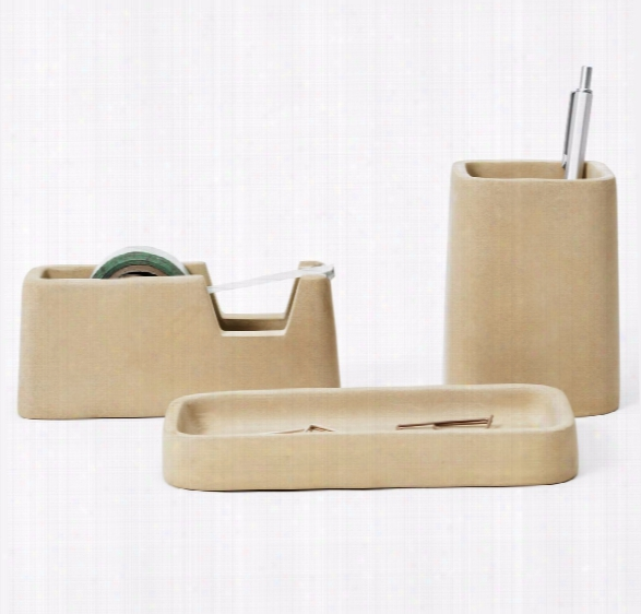 Concrete Desk Set In Sand Design By Areaware