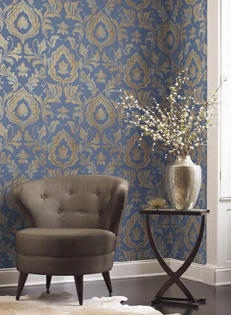 Contempo Damask Wallpaper In Blue And Gold Design By York Wallcoverings