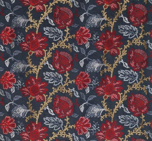 Coromandel Fabric In Blue, Red, And Neutral By Ina Campbell For Osborne & Little