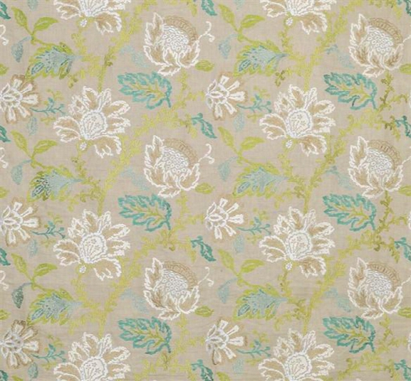 Coromandel Fabric In Ivory, Green, And Aqua By Nina Campbell For Osborne & Little