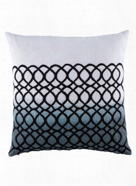 Cosmic Pillow In Blanc De Blanc & Goblin Blue Design By Nikki Chu