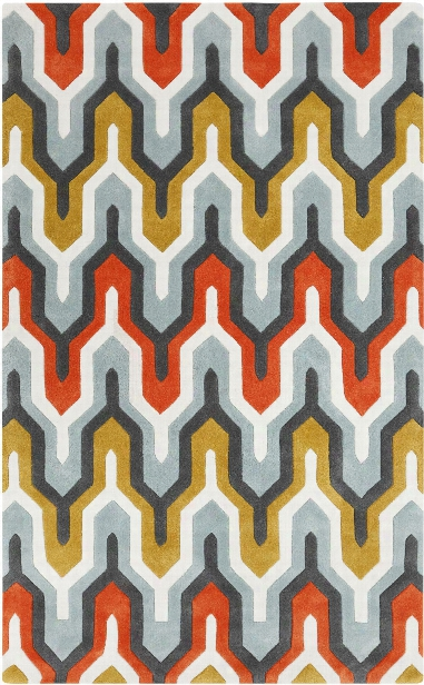 Cosmopolitan Collection Area Rug In Orange-red And Pewter Design By Surya