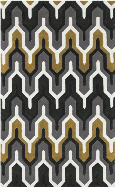Cosmopolitan Collection Area Rug In Pewter And Split Pea Design By Surya