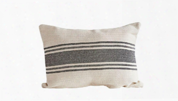 Cotton Canvas Pillow W/ Stripes In Black Design By Bd Edition