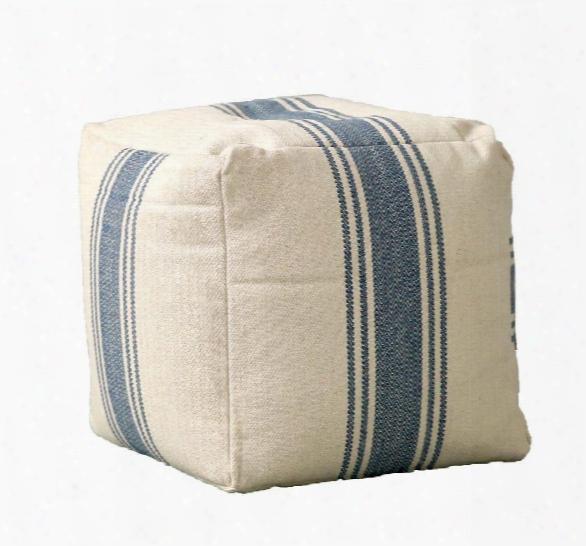 Cotton Canvas Pouf In Blue Stripes Design By Bd Edition