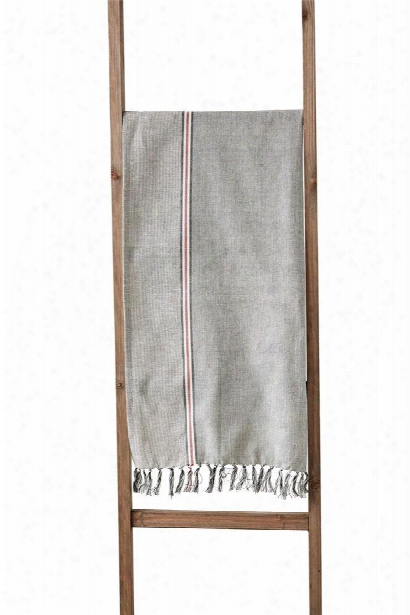 Cotton Chambray Table Runner W/ Stripe Design By Bd Edition