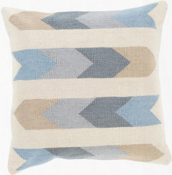 """Cotton Kilim 18"""" X 18"""" Cotton Cushion In Cream And Charcoal Shade By Surya"""