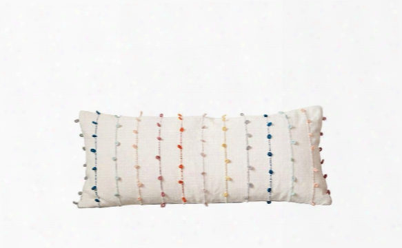 Cotton Pillow W/ Multi-color Embroidery Loop Design By Bd Edition