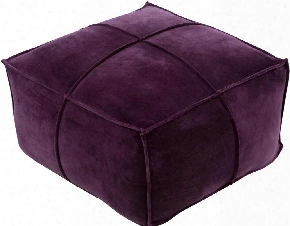 Cotton Velvet Cotton Pouf In Dark Purple Color