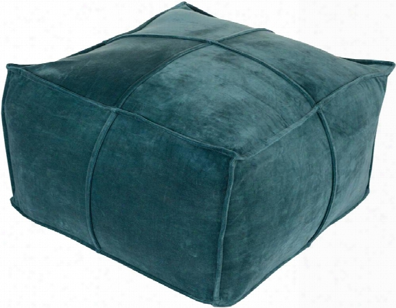 Cotton Velvet Cotton Pouf In Teal Color