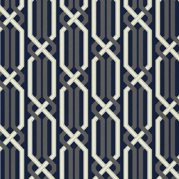 Criss Cross Wallpaper In Deepest Navy And Silver Design By Carey Lind For York Wallcoverings