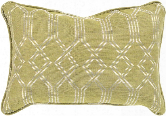 Crissy Pillow In Lime & White Design By Sunbrella