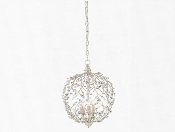 Crystal Bud Sphere Chandelier In Silver Granello Design By Currey & Comany