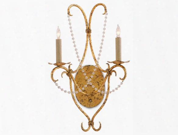 Crystal Lights Wall Sconce In Gold Leaf Design By Currey & Company