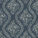 Coverlet Floral Wallpaper in Blue from the Magnolia Home Collection by Joanna Gaines