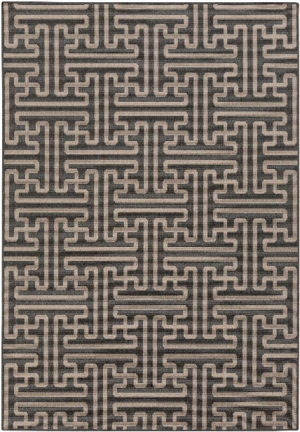 Alfresco Outdoor Rug In Black & Camel Design By Surya