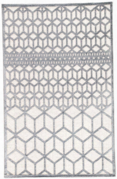 Alicante Geometric White & Dark Gray Area Rug Design By Jaipur