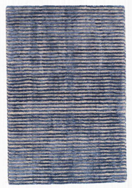 Cut Stripe Indigo Hand Knotted Wool/viscose Rug Design By Dash & Albert