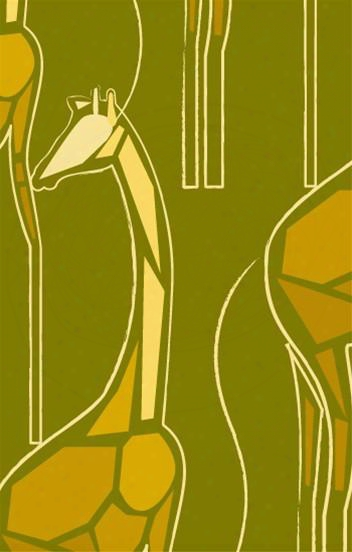 Cutpaper Giraffe Wallpaper In Goldenrod, Yellow And Citron Design By Kreme