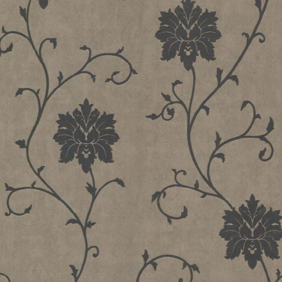 Dahli Pewter Floral Trail Wallpaper Design By Brewster Home Fashions