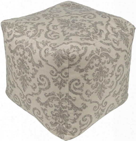 Damara Pouf In Ivory & Taupe Edsign By Sunbrella