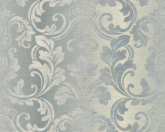 Damask Floral Trail Wallpaper In Beige And Blue Design By Bd Wall