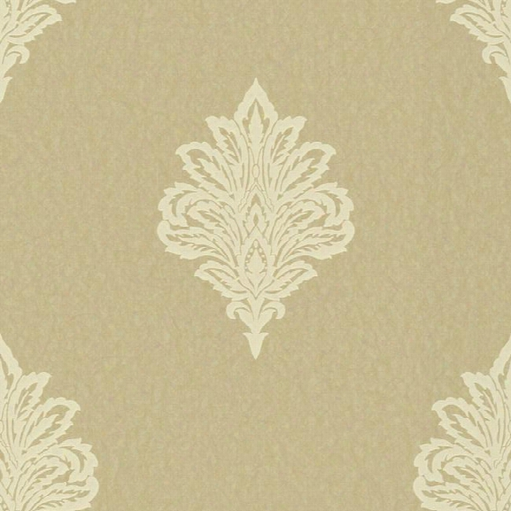 Damask Spot Wallpaper In Ivory And Gold Design By York Wallcoverings