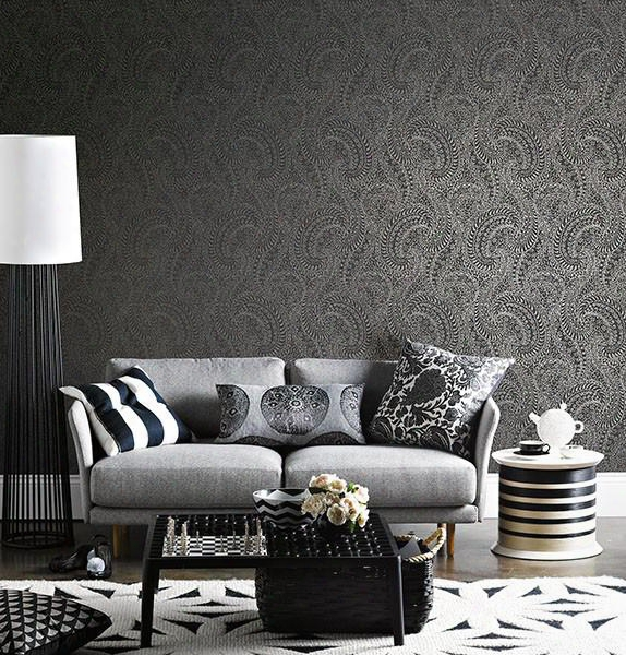 Daraxa Black Paisley Wallpaper From The Alhambra Collection By Brewster Home Fashions