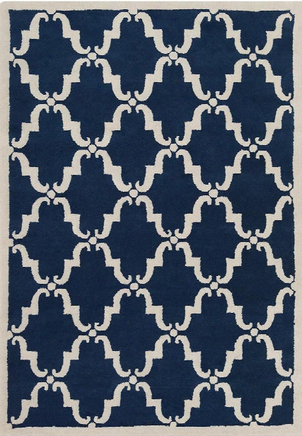 Davin Collection Hand-tufted Area Rug In Navy & White Design By Chandra Rugs