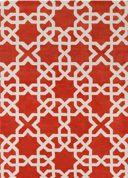 Davin Collection Hand-tufted Area Rug In Orange & White Design By Chandra Rugs