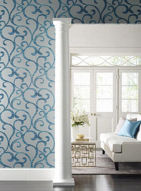 Dazzling Coil Wallpaper In Grey And Metallic Peacock By York Wallcoverings