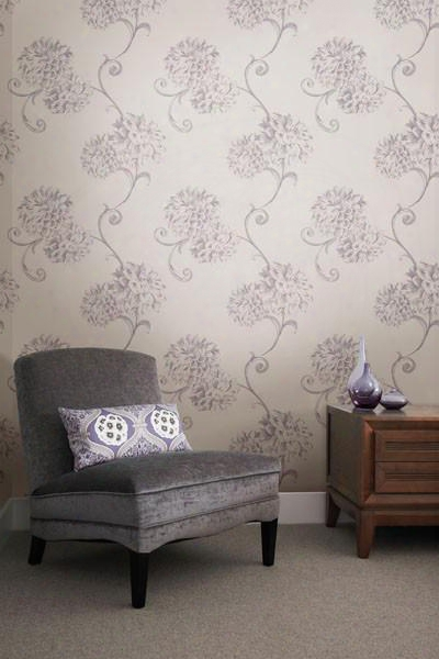 Deliah Purple Watercolor Dahlia Wallpaper Design By Brewster Home Fashions
