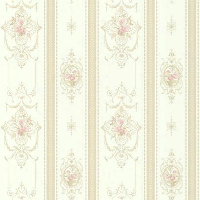 Delicate Rose Stripe Wallpaper In Off White Design By York Wallcoverings