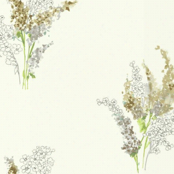 Delphinium Wallpaper In Brown And White Design By Carey Lind For York Wallcoverngs