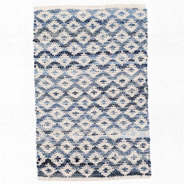 Denim Rag Diamond Ivory Woven Cotton Rug Design By Dash & Albert