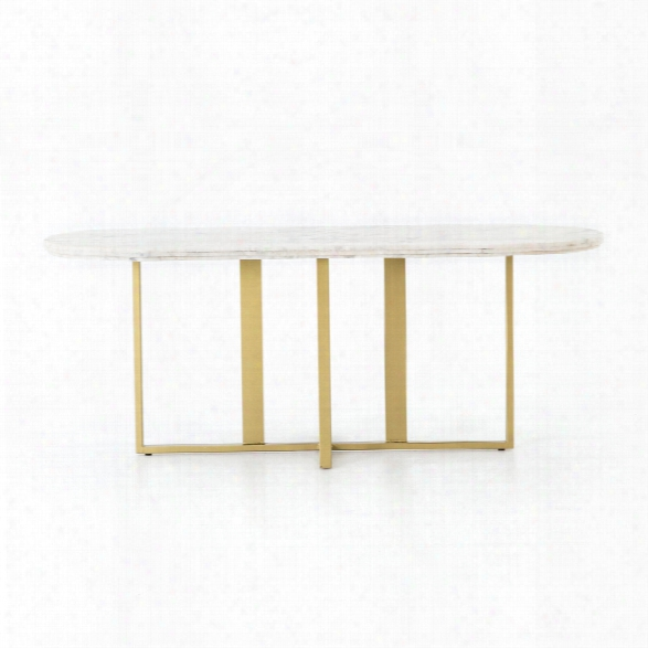 Devan Oval Dining Table In White Marble