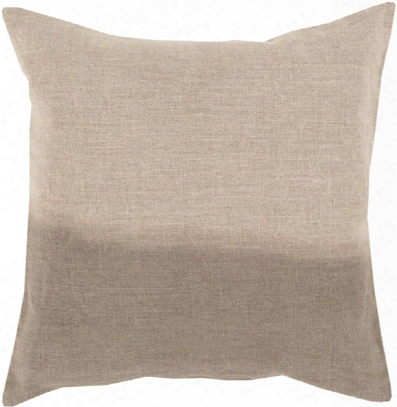 "Dip Dyed 18"" X 18"" Linen Cushion In Khaki And Taupe Tone By Surya"