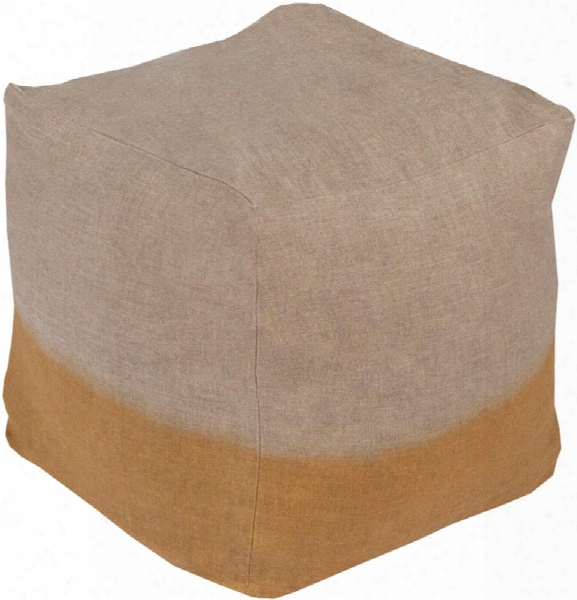 Dip Dyed Linen Pouf In Khaki And Tan Color