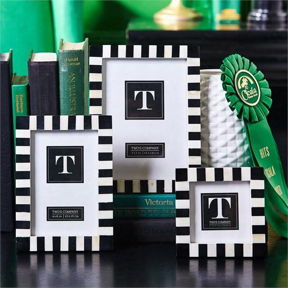 Domino Striped Set Of 3 Black And White Photo Frames Design By Two's Company