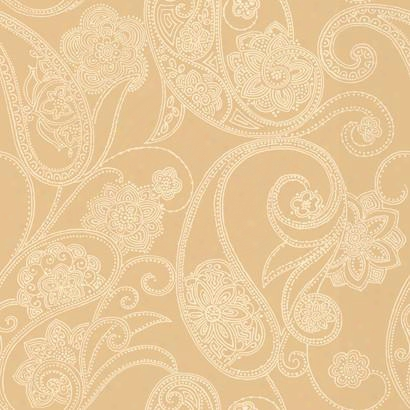 Dotted Paisley Wallpaper In Gold And Ivory Desing By Candice Olson