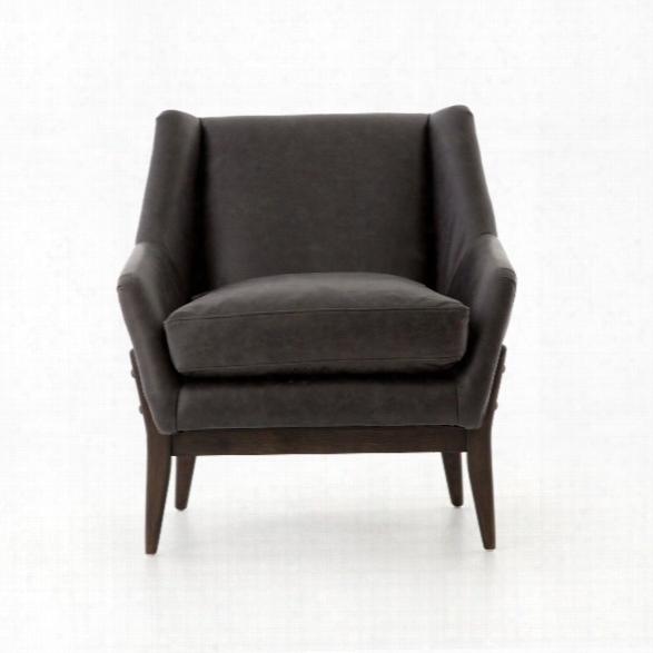 Dottie Leather Club Chair In Chaps Ebony