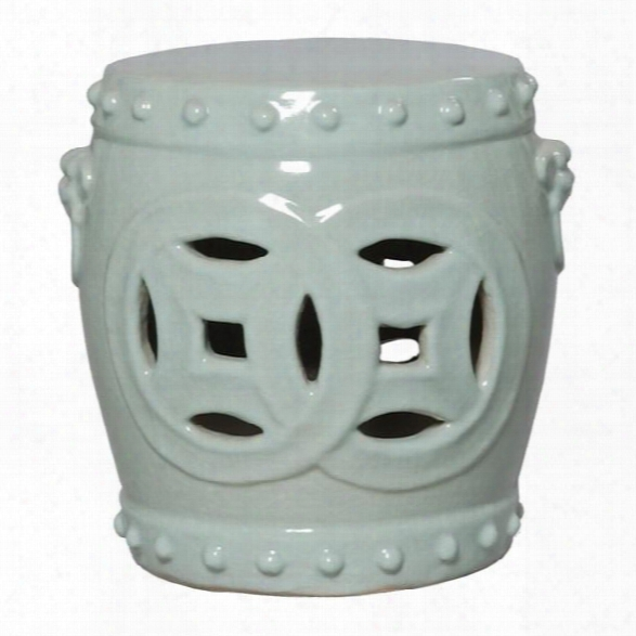 Double Fortune Garden Stool In Celadon Design By Emissary