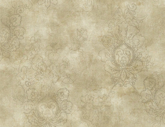 Drawn Damask Wallpaper In Umber From The Vintage Home 2 Collection By Wallquest