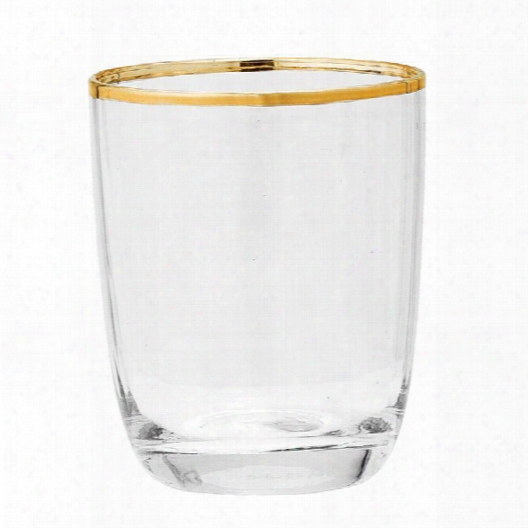 Drinking Glass W/ Gold Electroplated Rim Design By Bd Edition