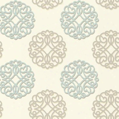 Duo Wallpaper In Ivory, Brown, And Blue Design By Candice Olson