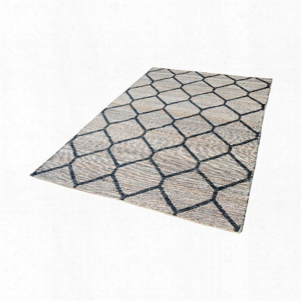 Econ Jacquard Weave Jute Rug In Natural & Black Design By Lazy Susan