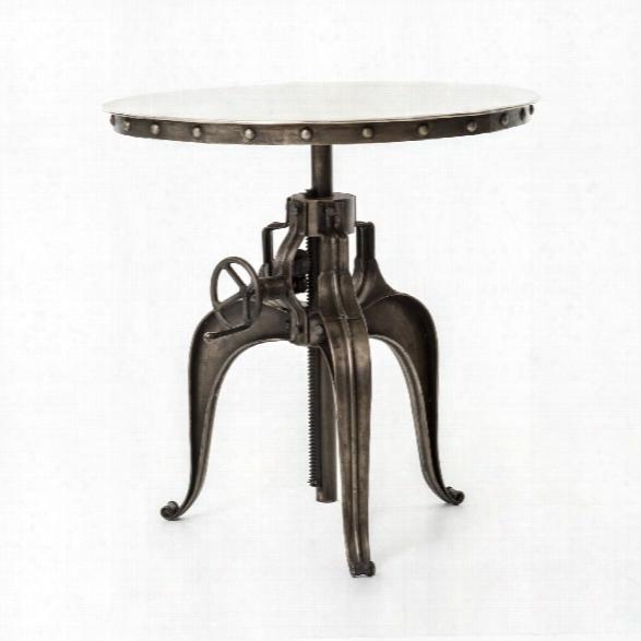 "Element 30"" Bistro Crank Table In Antique Nickel"