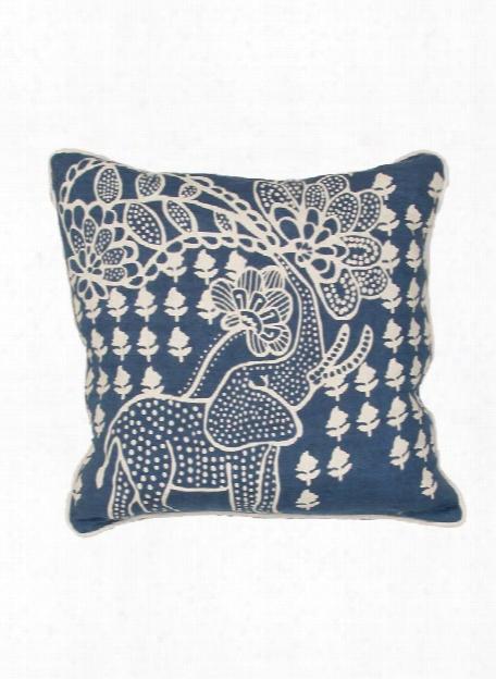 En Casa Pillow In White Asparagus & Moonlight Blue Design By En Casa