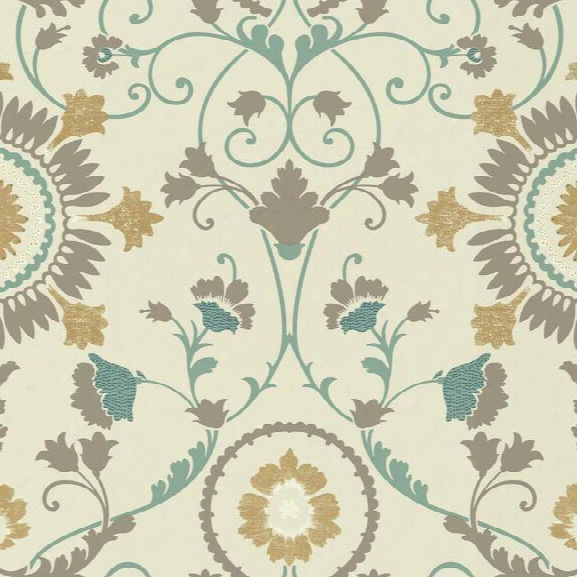 Enamel Ornament Wallpaper In Aqua And Gold Design By Carey Lind For York Wallcoverings