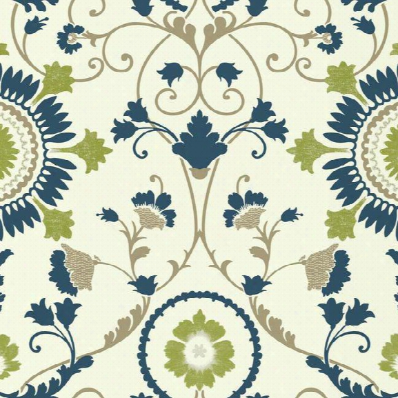 Enamel Ornament Wallpaper In Blue And Green Design By Carey Lind For York Wallcoverings